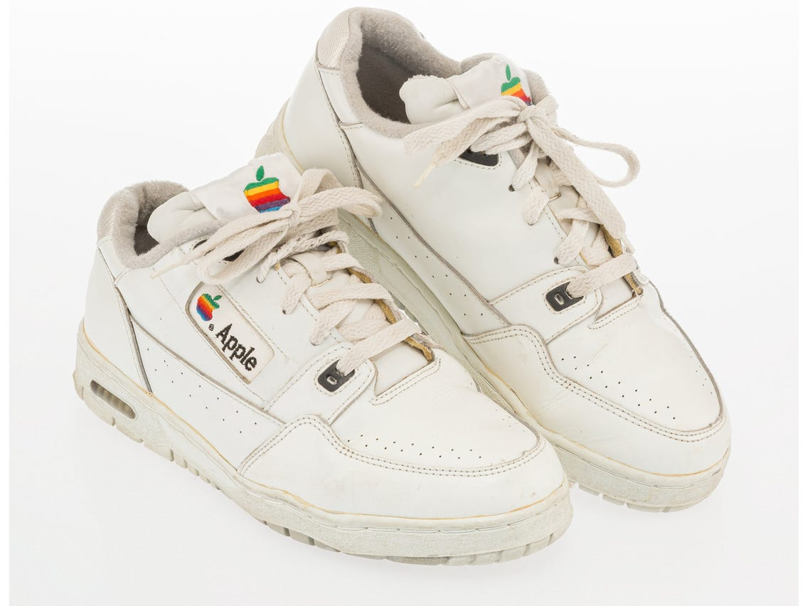 A pair of Apple branded sneakers from the 1980s