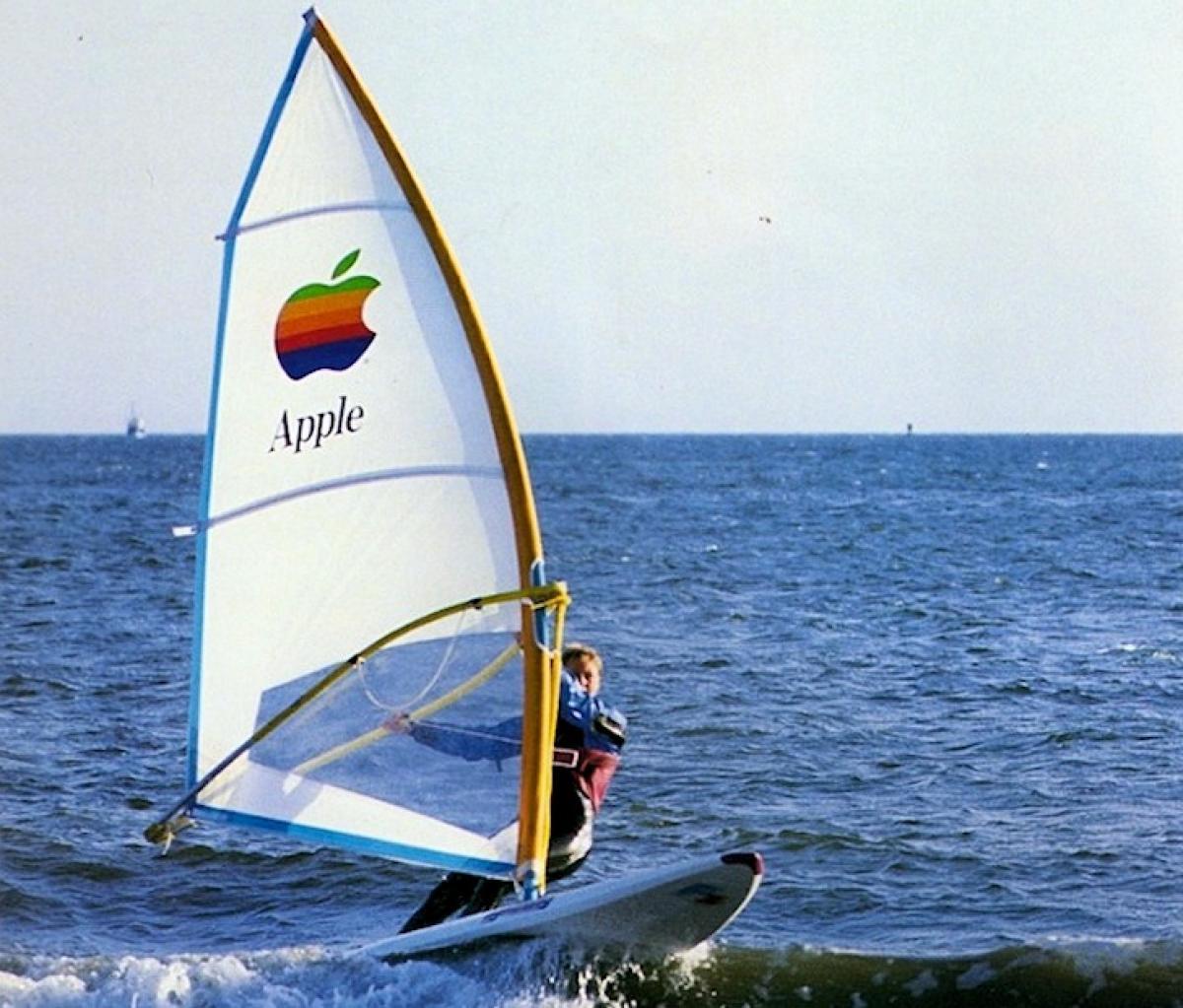 An Apple branded windsurfing board
