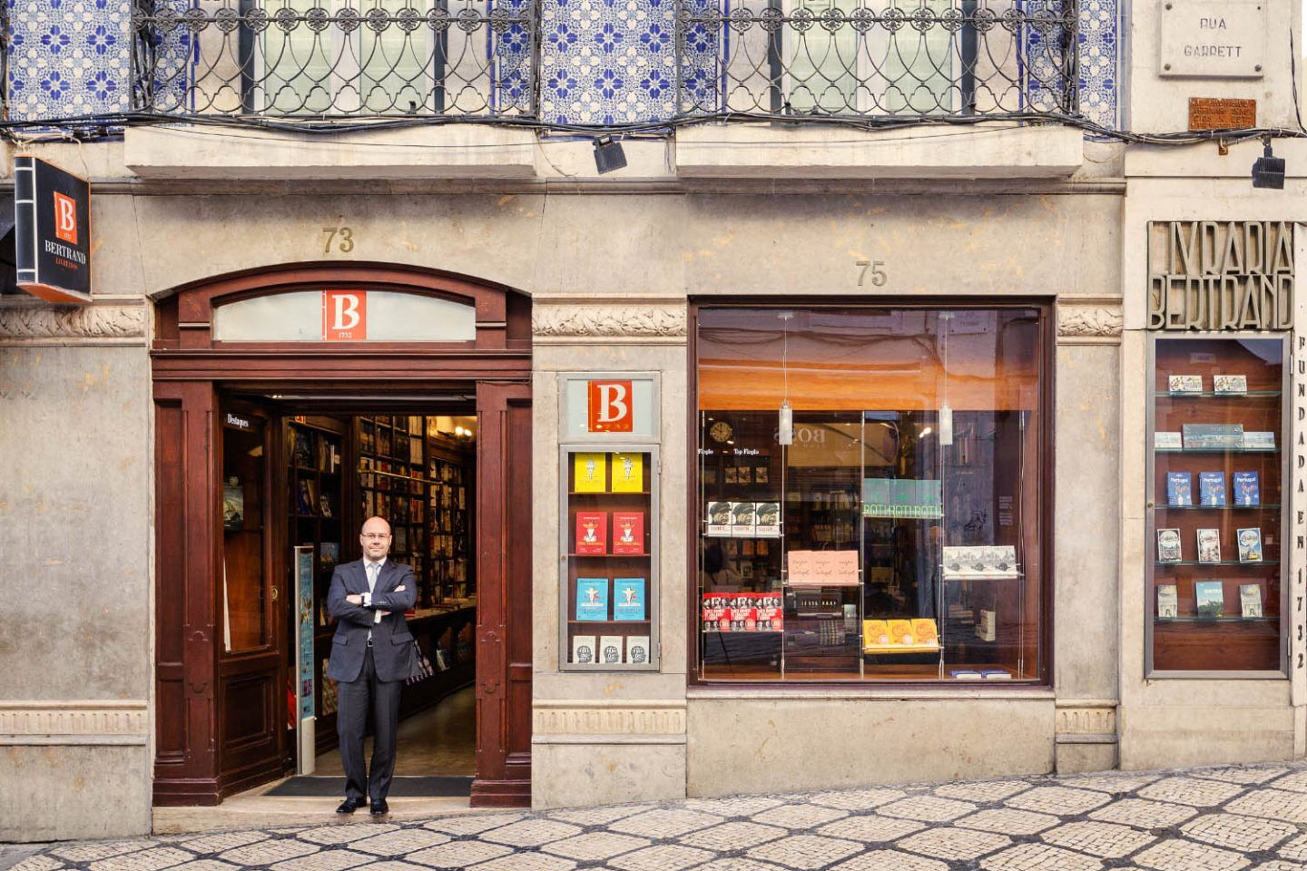 The front entrance of Bertrand Bookstore in Lisbon, Portugal