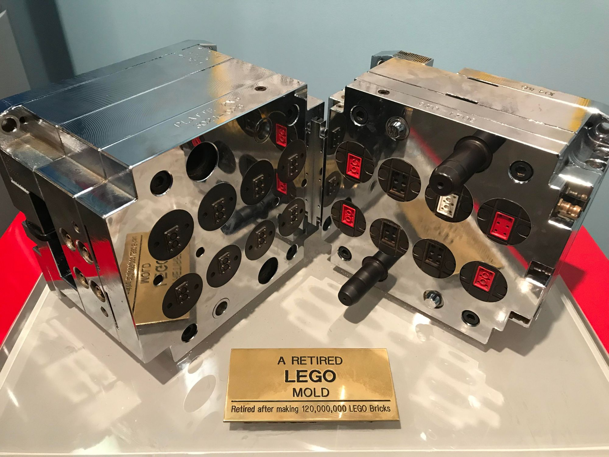 A retired LEGO mold used to produce 120 million LEGO bricks