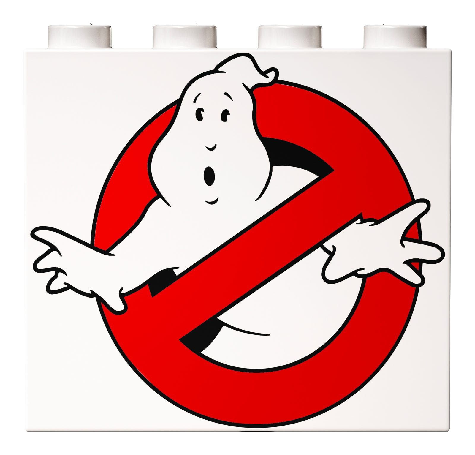 "The ""No Ghost"" logo is printed on a white brick for the Ecto-1 door"