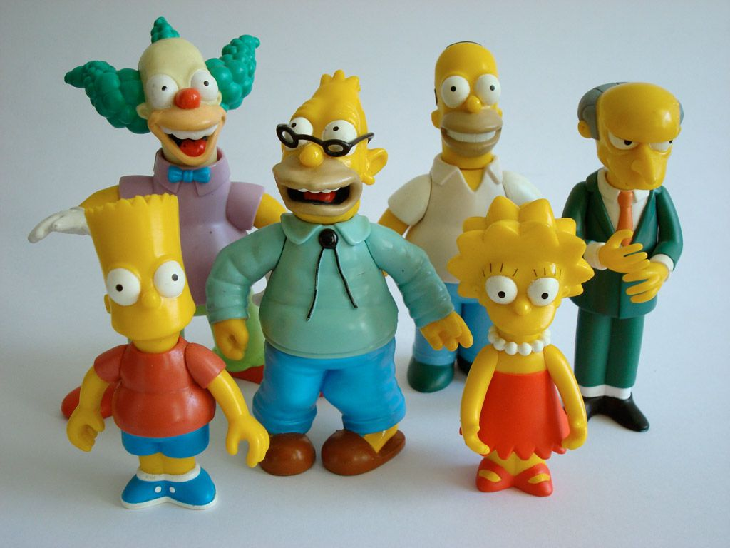 An assortment of figures from The World of Springfield toy line