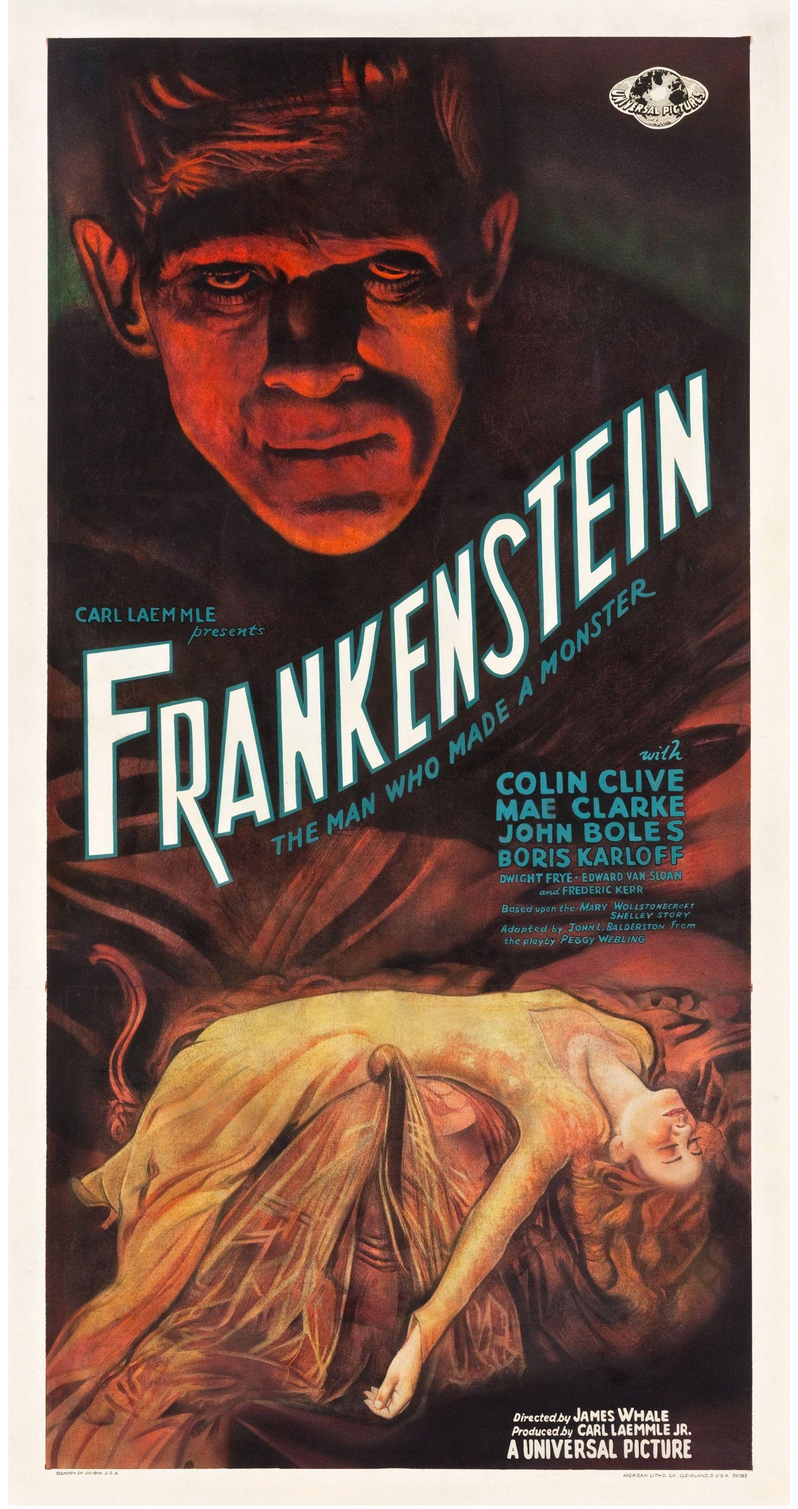 """Universal Pictures """"Frankenstein"""" (1931) Three Sheet Poster"""