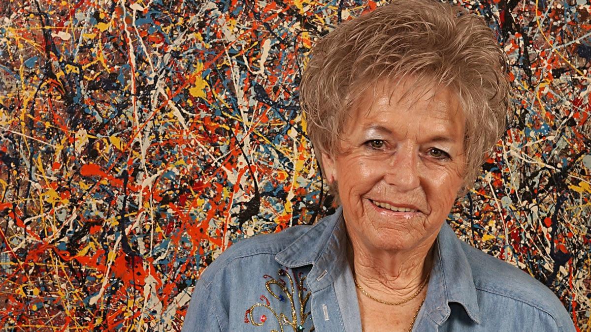 Teri Horton with Jackson Pollock painting