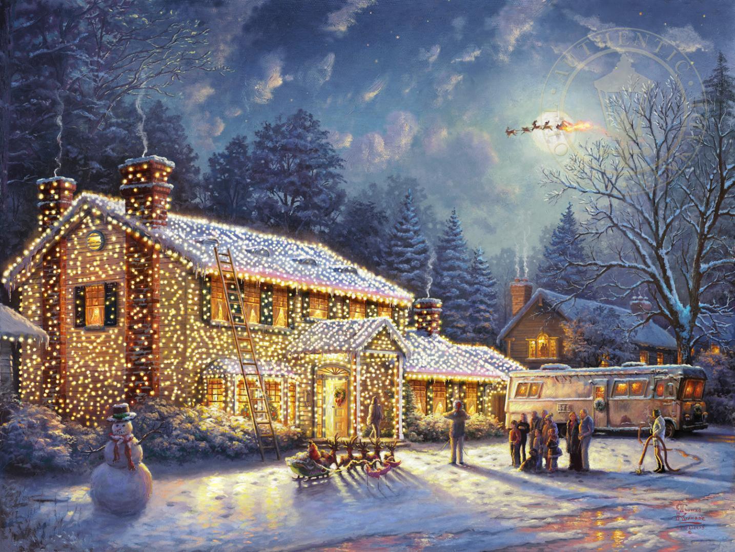 Thomas Kinkade Studios National Lampoon's Christmas Vacation Limited Edition Canvas Artwork